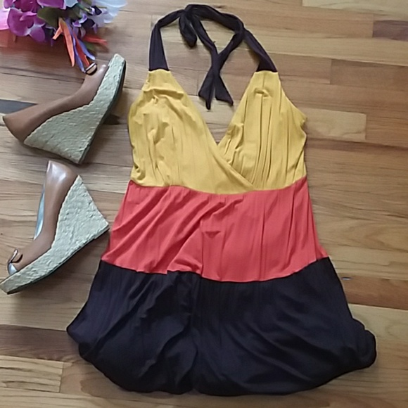 Ashley Stewart Dresses & Skirts - Striped Color Blocked Halter Maxi Dress